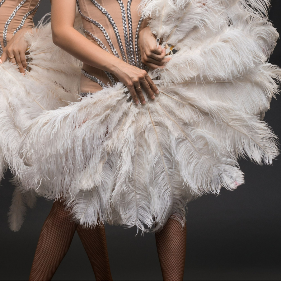 Showgirls hold large ostrich feather fans